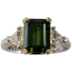 """Tacori"" Platinum Ring with Beautiful Green Tourmaline and 2 Diamonds on a Side"