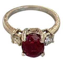 Tacori Faceted Rubellite Tourmaline & Brilliant Cut Diamond Platinum Ring-Size 5
