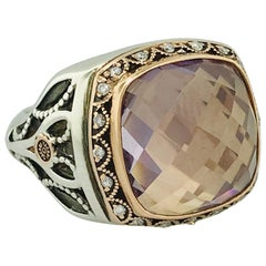 Tacori Rose de France Amethyst 18 Karat Gold and Sterling Silver Ring SR104P13