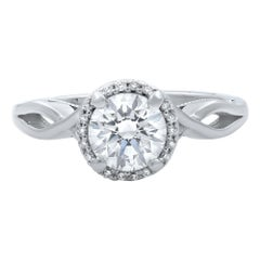 Tacori Round Brilliant Diamond Platinum Engagement Ring 0.81 Carat
