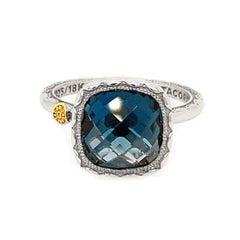 Tacori Sterling Silver Cushion Gem Ring with London Blue Topaz
