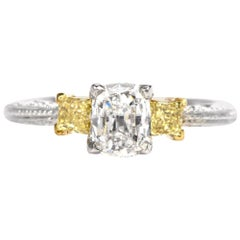 Tacori Three-Stone GIA Yellow Diamond Heart Platinum 18 Karat Engagement Ring