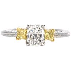 Tacori Three-Stone GIA Yellow Diamond Heart Platinum 18 Karat Engagement Ring