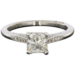 Tacori White Gold 1.16 Carat Princess Diamond Straight Engagement Ring