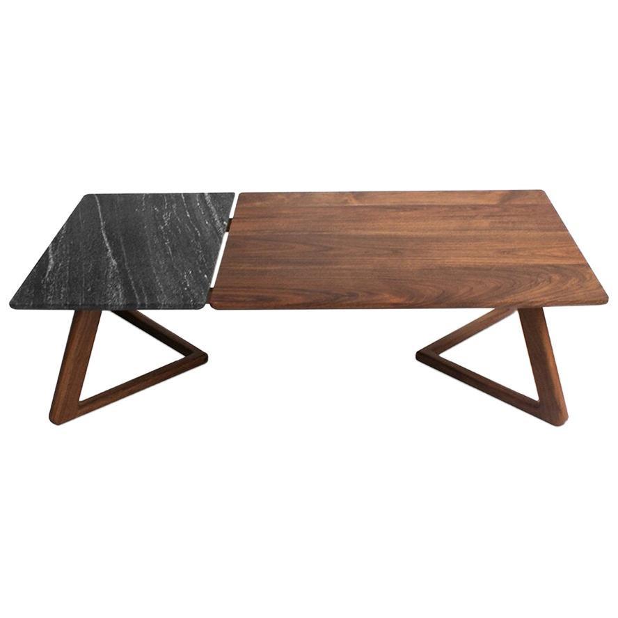 Tácua Walnut Crystal and Marble Coffe Table Large