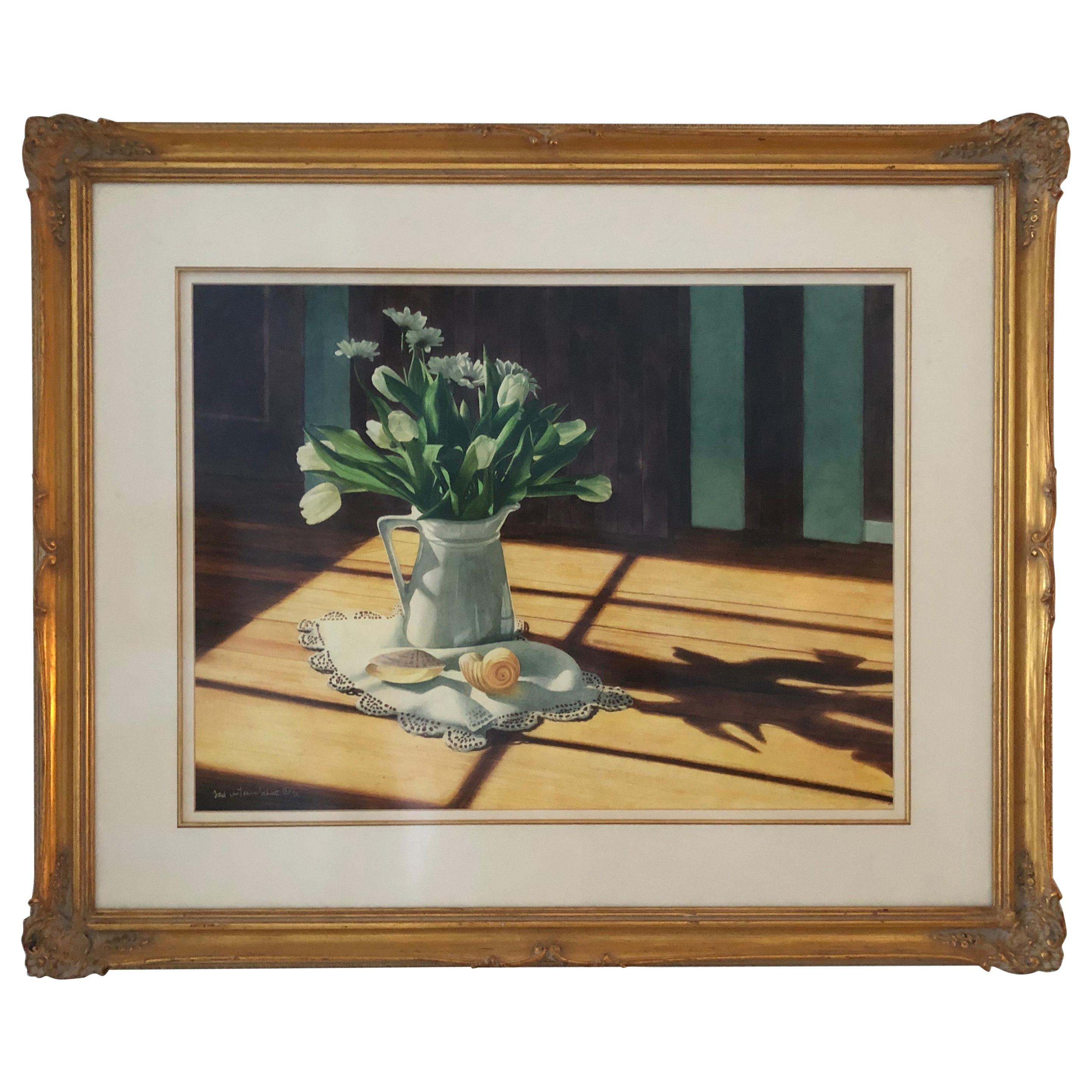 "Tad Cheyenne Schutt ""Flowers and Shells"" Original Still Life Watercolor"