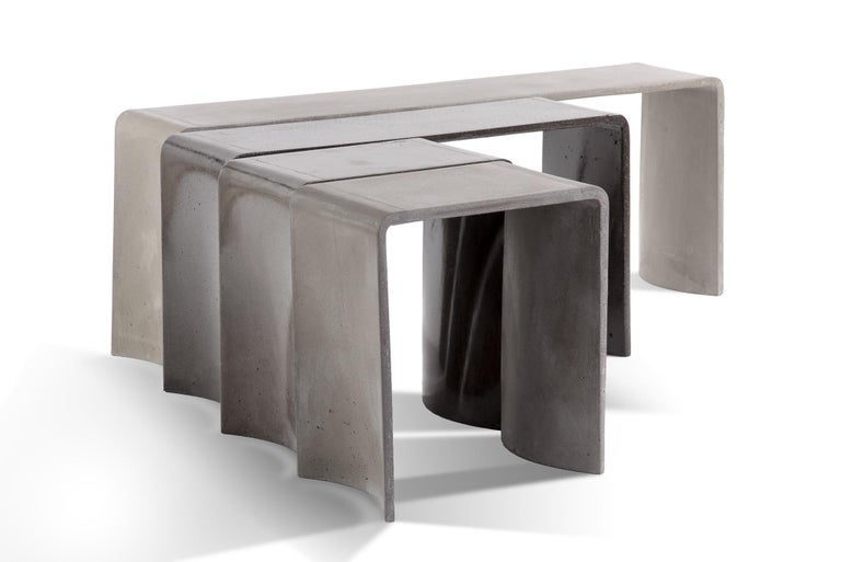 Modern Tadao 120 Concrete Contemporary Low Console Table, 100% Handcrafted in Italy For Sale