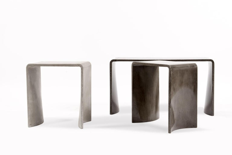 Modern Tadao 40 Concrete Contemporary Stool & Side Table, 100% Handcrafted in Italy For Sale