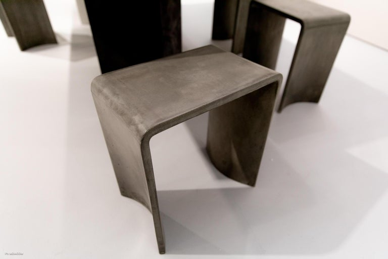 Molded Tadao 40 Concrete Contemporary Stool & Side Table, 100% Handcrafted in Italy For Sale