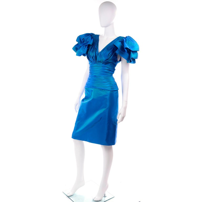 Tadashi 1980s Vintage Iridescent Blue Pleated Evening Dress W Ruffle Sleeves In Excellent Condition For Sale In Portland, OR