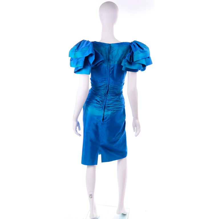 Tadashi 1980s Vintage Iridescent Blue Pleated Evening Dress W Ruffle Sleeves For Sale 1