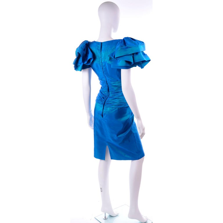 Tadashi 1980s Vintage Iridescent Blue Pleated Evening Dress W Ruffle Sleeves For Sale 2