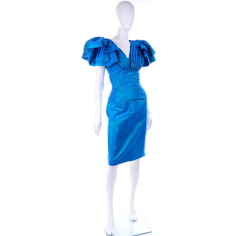 Tadashi 1980s Vintage Iridescent Blue Pleated Evening Dress W Ruffle Sleeves For Sale 3