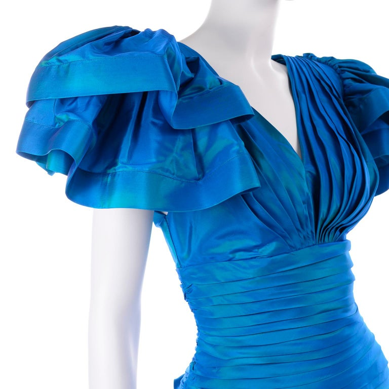 Tadashi 1980s Vintage Iridescent Blue Pleated Evening Dress W Ruffle Sleeves For Sale 4