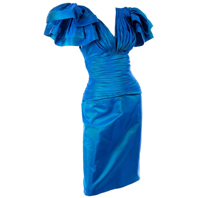 Tadashi 1980s Vintage Iridescent Blue Pleated Evening Dress W Ruffle Sleeves For Sale