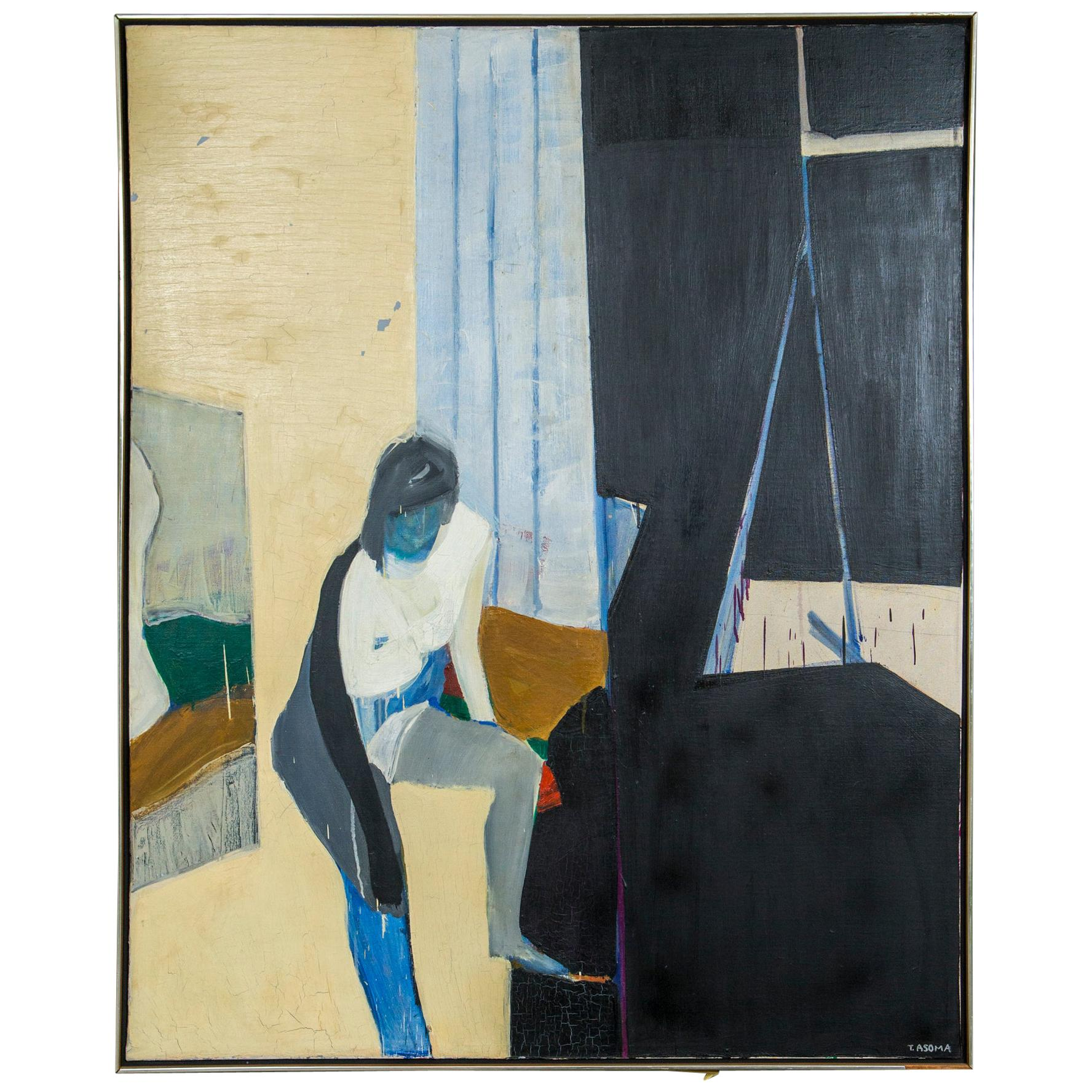 Tadashi Asoma Oil Painting of a Woman, 1960s