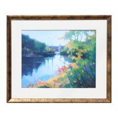"""""""Morning Light"""" Colorful Abstract River Nature Landscape Oil Painting"""