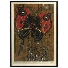 Tadashi Nakayama Large Limited Edition Signed Japanese Woodblock Print, 1964