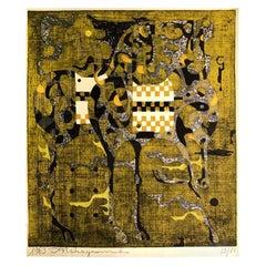 Tadashi Nakayama Signed Limited Edition Japanese Woodblock Print Two Horses 1963