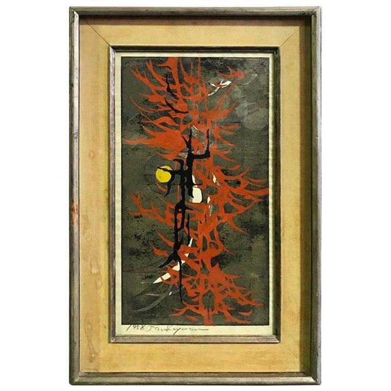 """Tadashi Nakayama Rare Early Japanese Woodblock Print """"Buffoonery"""", 1958"""