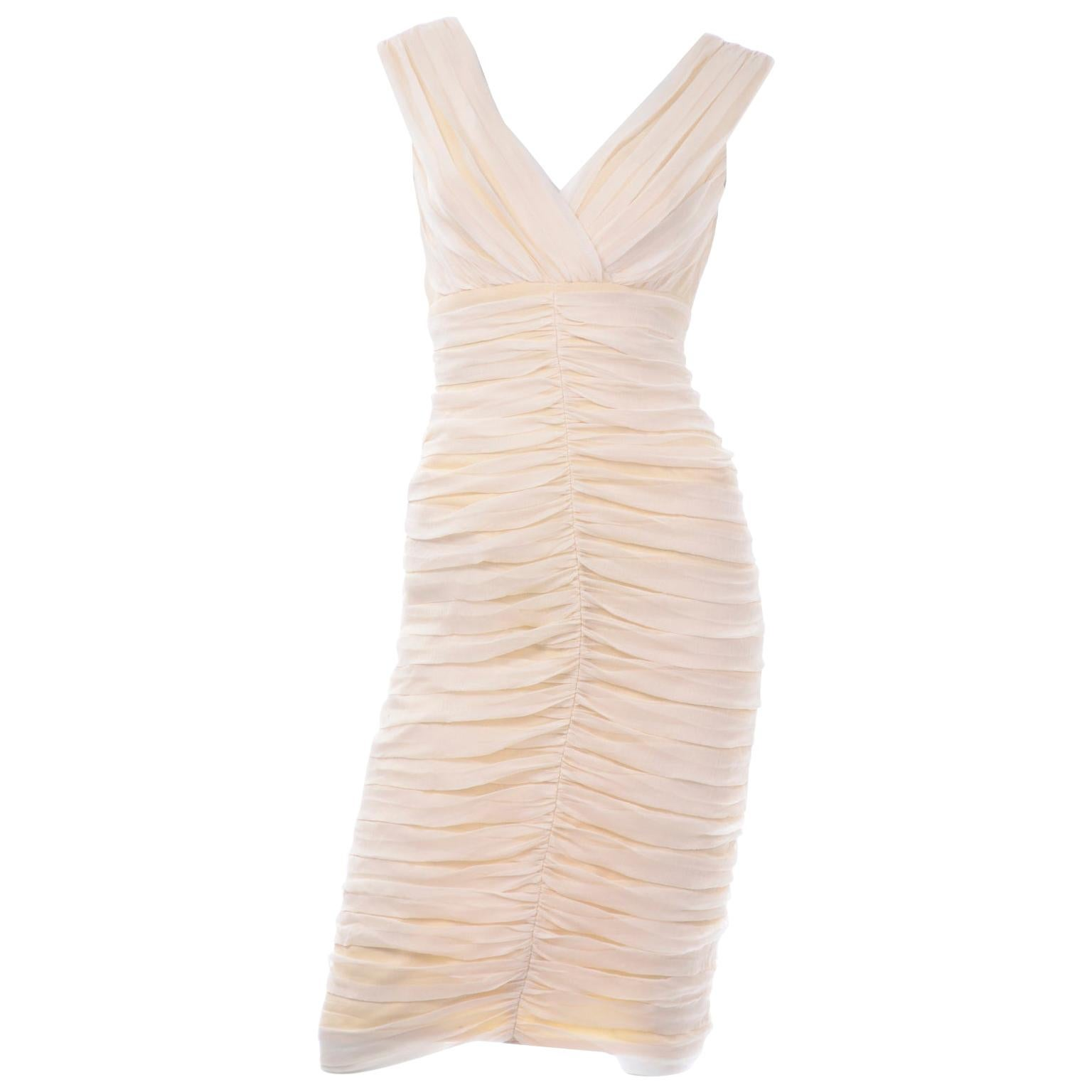 Tadashi Ruched Cream Bodycon Vintage Dress