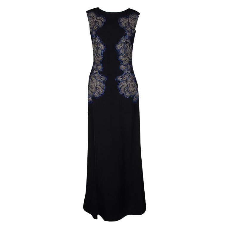 Tadashi Shoji Black Lace Applique Side Panel Detail Embellished Sleeveless Gown