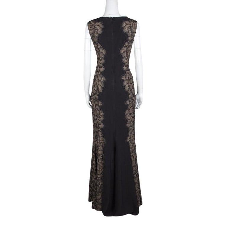 Tadashi Shoji Black Lace Applique Side Panel Detail Sleeveless Gown S In New Condition For Sale In Dubai, Al Qouz 2