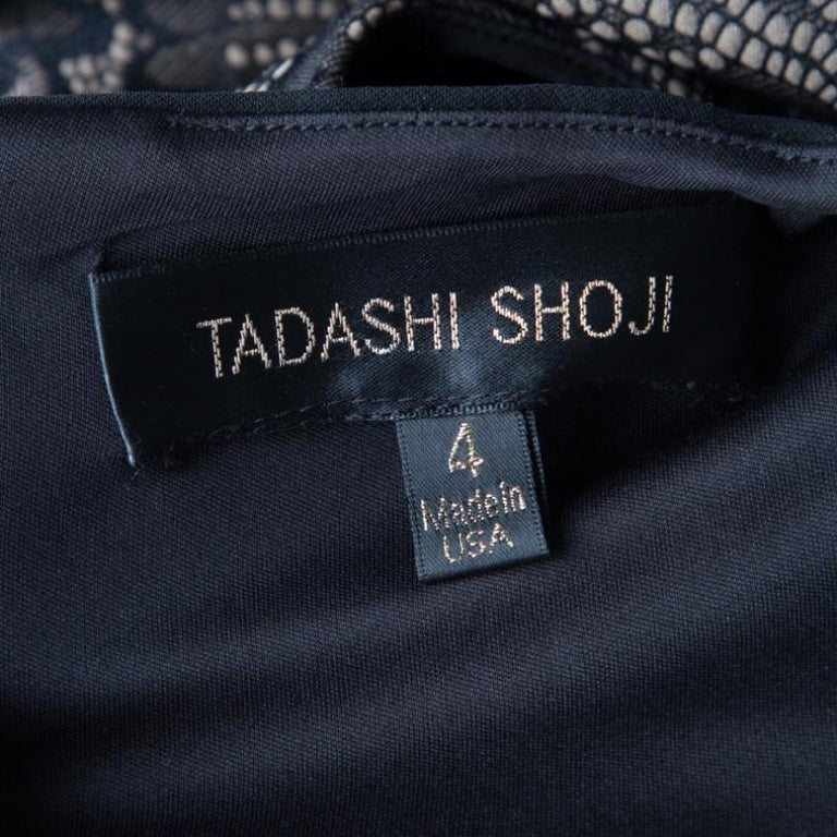 Tadashi Shoji Black Lace Applique Side Panel Detail Sleeveless Gown S For Sale 1