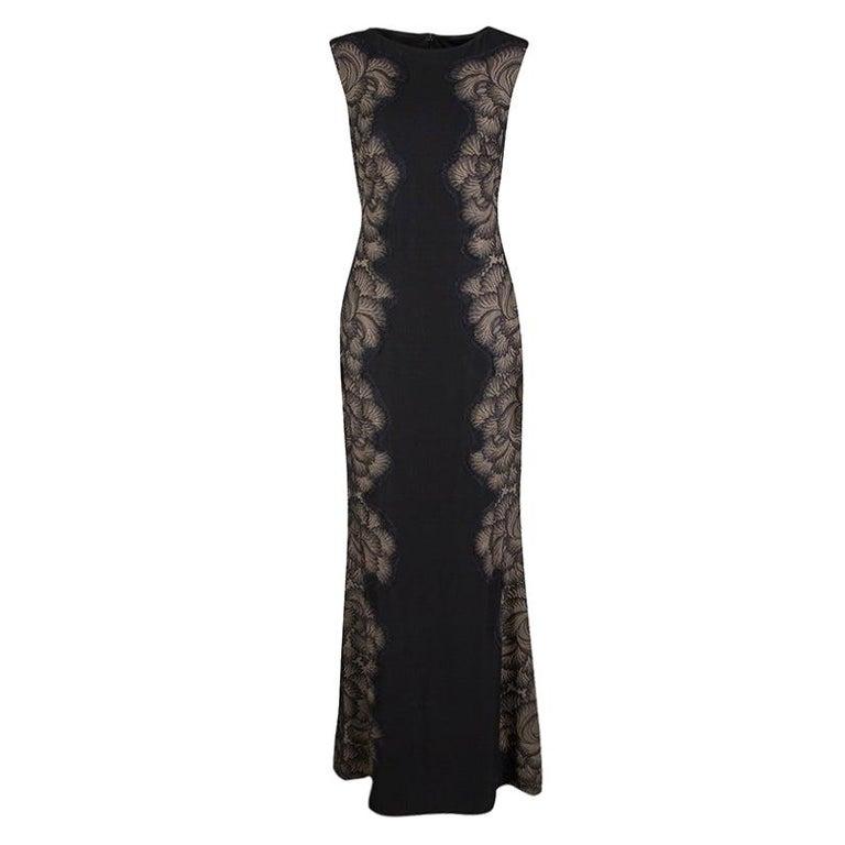 Tadashi Shoji Black Lace Applique Side Panel Detail Sleeveless Gown S For Sale
