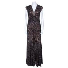 Tadashi Shoji Black Lace Overlay V Neck Evening Gown M