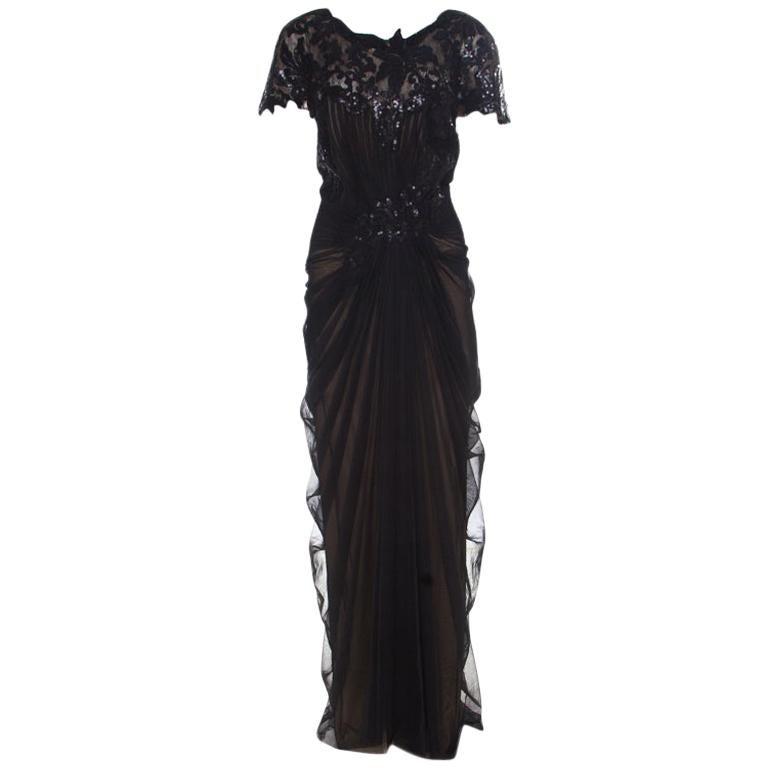 Tadashi Shoji Black Sequin Embellished Cap Sleeve Pegged Evening Gown XXL