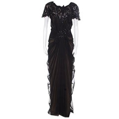 Tadashi Shoji Black Sequin Embellished Cap Sleeve Pegged Evening Gown XXL