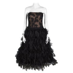 Tadashi Shoji Black Tulle Embroidered Faux Feather Strapless Dress M