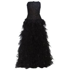 Tadashi Shoji Black Tulle Embroidered Faux Feather Strapless Gown M