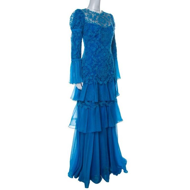 Tadashi Shoji Blue Chiffon & Lace Tiered Moreau Gown L In New Condition For Sale In Dubai, Al Qouz 2