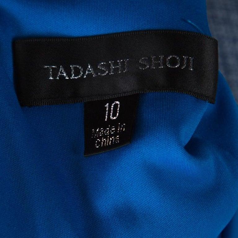 Women's Tadashi Shoji Blue Chiffon & Lace Tiered Moreau Gown L For Sale
