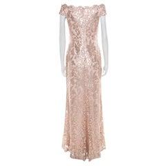 Tadashi Shoji Blush Pink Sequined Off Shoulder Evening Gown S