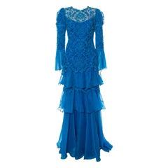 Tadashi Shoji Cerulean Blue Cord Embroidered Tiered Moreau Gown M