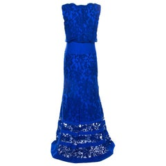 Tadashi Shoji Cobalt Blue Embroidered Lace Blouson Waist Sheer Paneled  Gown M