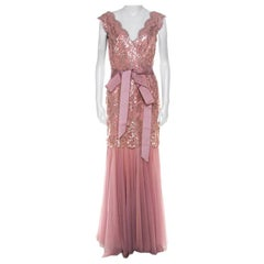 Tadashi Shoji Dusty Rose Sequin Embellished Scalloped Lace Detail Tulle Gown M