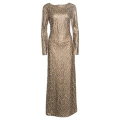 Tadashi Shoji Gold Laser Cut Embroidered Leatherette Long Sleeve Boat Neck Gown