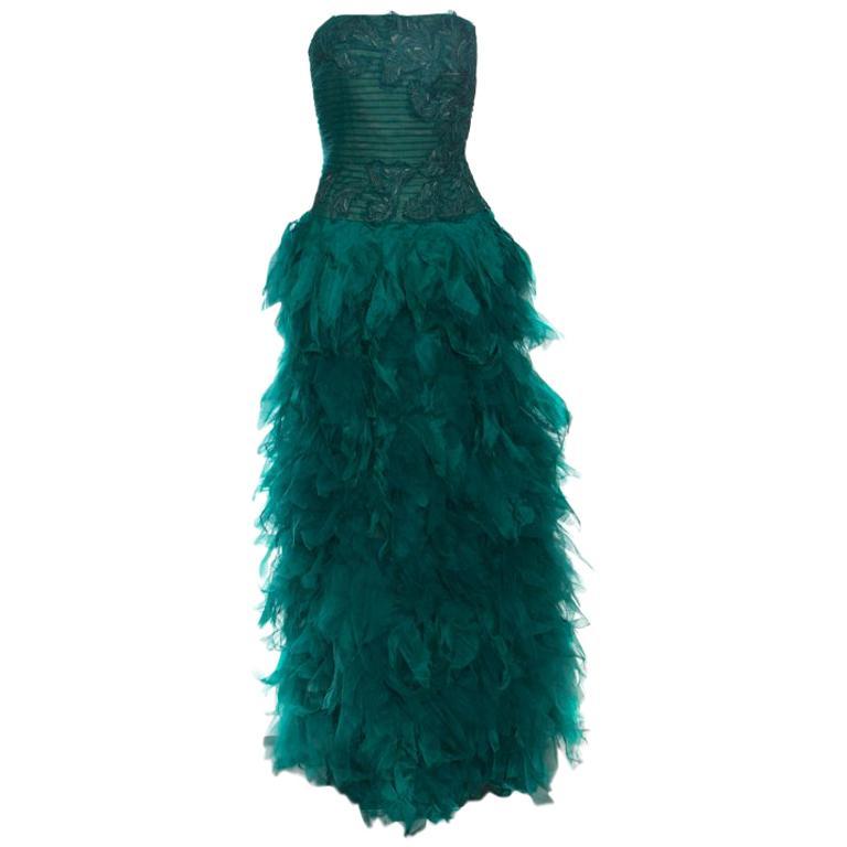 Tadashi Shoji Green Tulle Embroidered Faux Feather