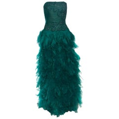 Tadashi Shoji Green Tulle Embroidered Faux Feather Strapless Gown M