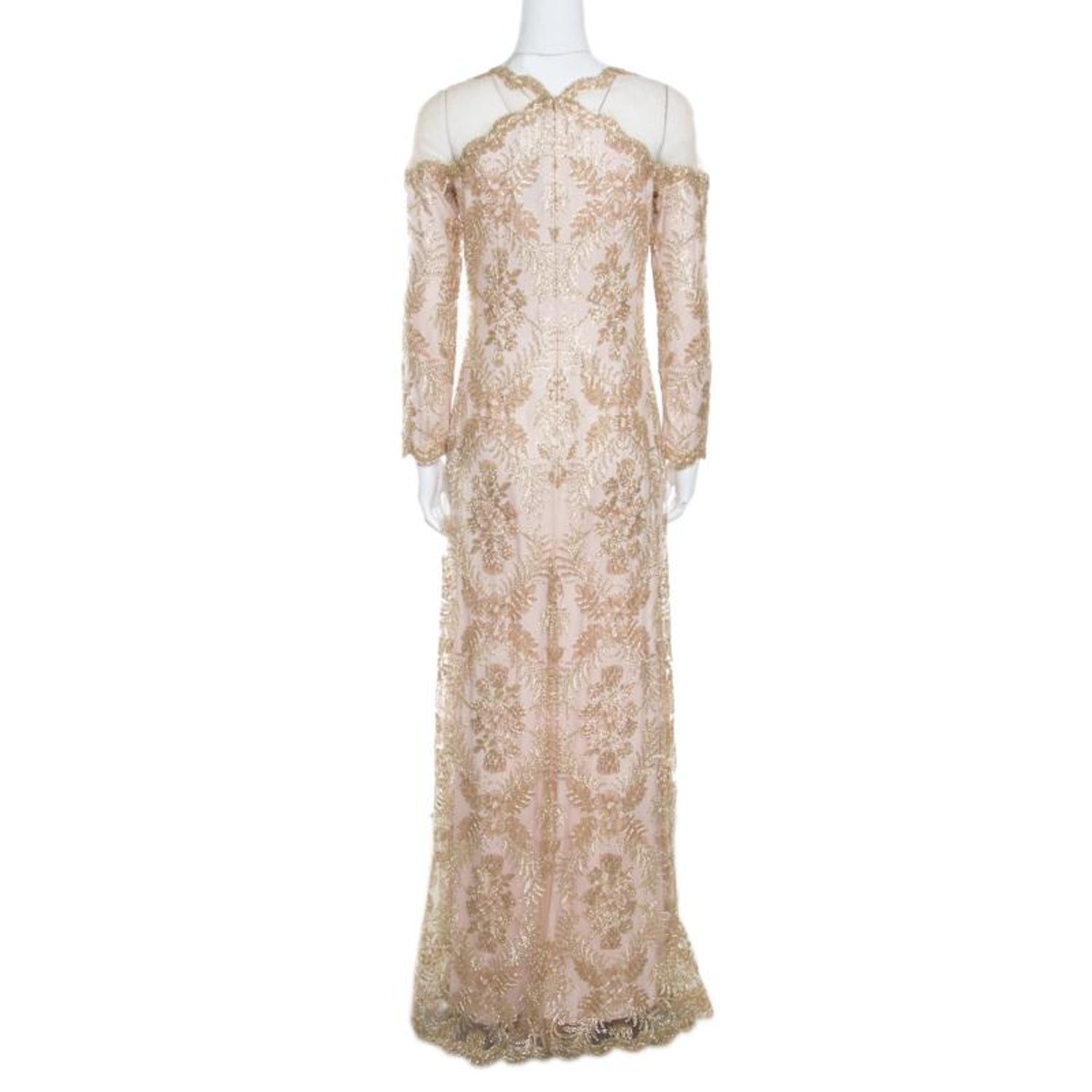 992dacbe3f Tadashi Shoji Light Gold Metallic Cord Embroidered Detail Tulle Evening Gown  S For Sale at 1stdibs