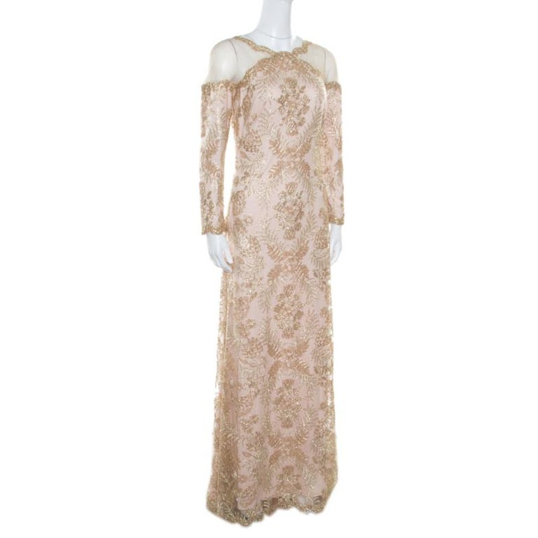 Tadashi Shoji Light Gold Metallic Cord Embroidered Detail Tulle Evening Gown S In Excellent Condition For Sale In Dubai, AE