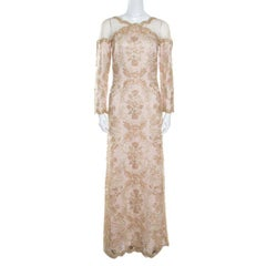Tadashi Shoji Light Gold Metallic Cord Embroidered Detail Tulle Evening Gown S