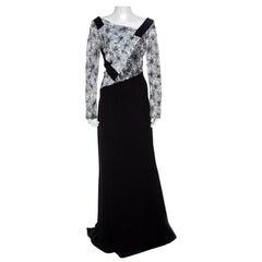 Tadashi Shoji Monochrome Floral Embroidered Marissa Gown L