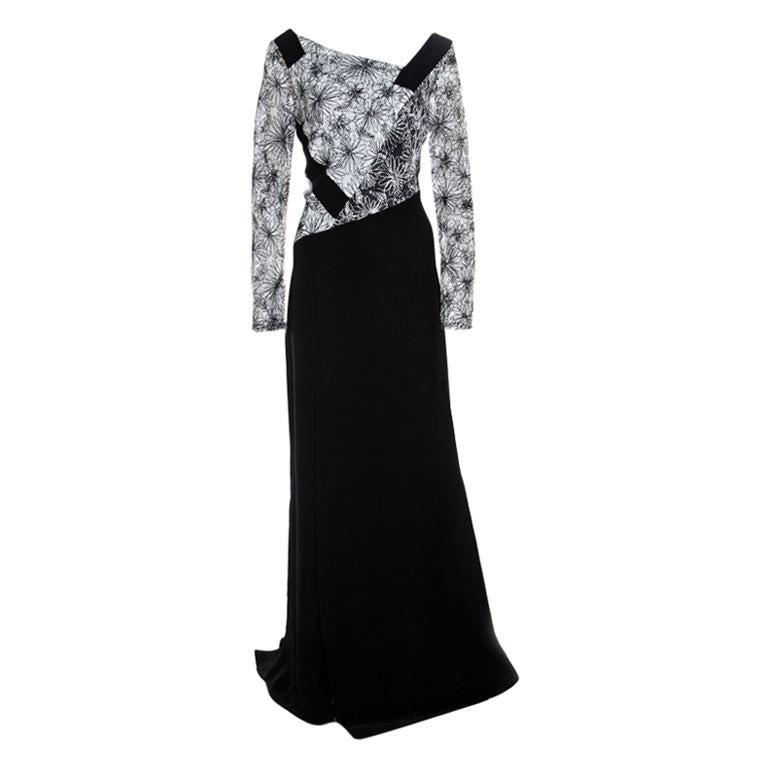 d5a3673b290 Elie Saab Black Eyelet Embroidered Gathered Sleeveless Maxi Dress S For  Sale at 1stdibs