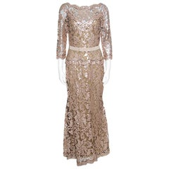 Tadashi Shoji Pink and Black Lace Sequined Long Sleeve Boat Neck Gown S