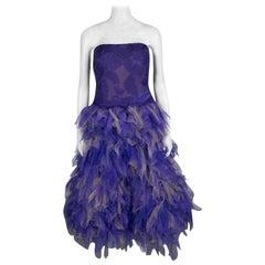 Tadashi Shoji lila und Beige Tüll gesticktes Kunst Feder trägerloses Kleid L